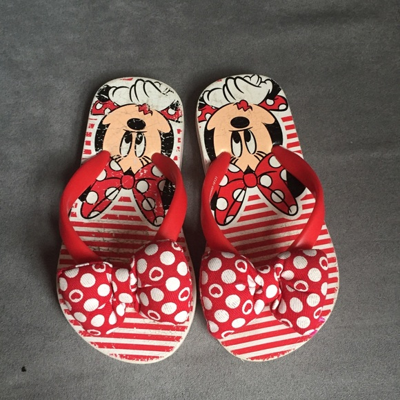 Disney Minnie Mouse Toddler Girls Flip Flops Sandals Sizes  7-8 NWT